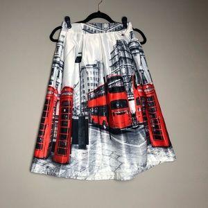 Full Pleated a-line London bus Midi Skirt